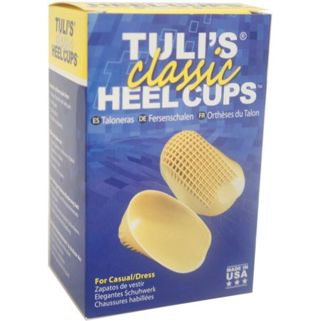 Tuli's Classic Heel Cups, Shock Absorption Cushion Inserts for Plantar Fasciitis and Heel Pain Relief, Yellow,