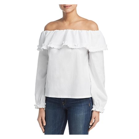 Marled Reunited Clothing Womens Off-The-Shoulder Ruffled Pullover Top