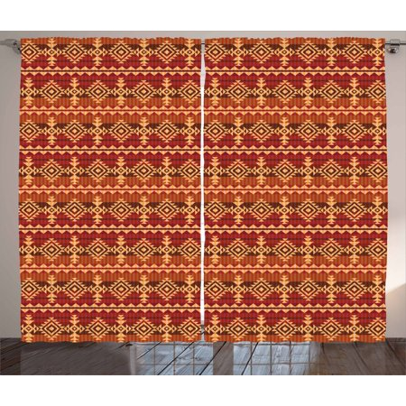 Mexican Curtains 2 Panels Set Ancient Aztec Culture Theme Classical Triangles Pattern Primitive Ornaments