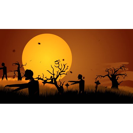 Zombie Silhouettes Cemetry Cake Topper Edible Frosting Image 1/4 Sheet (Zombie Silhouettes)