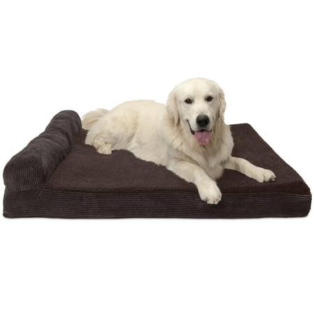 FurHaven Pet Dog Bed   Cooling Gel Memory Foam Orthopedic Faux Fleece & Corduroy Lounge Pet Bed for Dogs & Cats, Dark Espresso, Jumbo