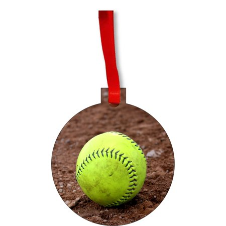 Yellow Softball in the Gravel Round Shaped Flat Hardboard Christmas Ornament Tree Decoration - Unique Modern Novelty Tree Décor Favors](Softball Novelties)