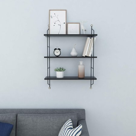 3 Tiers Rustic Floating Book Shelves Wall Mounted Industrial Wall Shelves Storage Shelf Heavy Duty