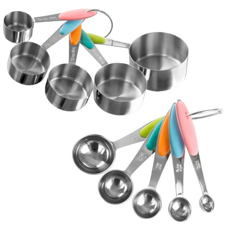 Measuring Cups and Spoons Set, Stainless Steel with Colored Silicone Handles and Metal Ring Hanger for Baking and Cooking by Classic Cuisine, 10 Piece ()