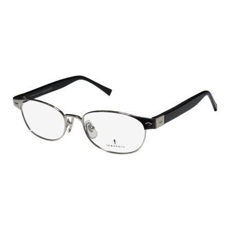 New Seraphin Penn Mens/Womens Designer Full-Rim Silver / Black Hand Made In Japan Hard Case Frame Demo Lenses 51-17-140 Eyeglasses/Eye (Eyeglasses Made In Japan)