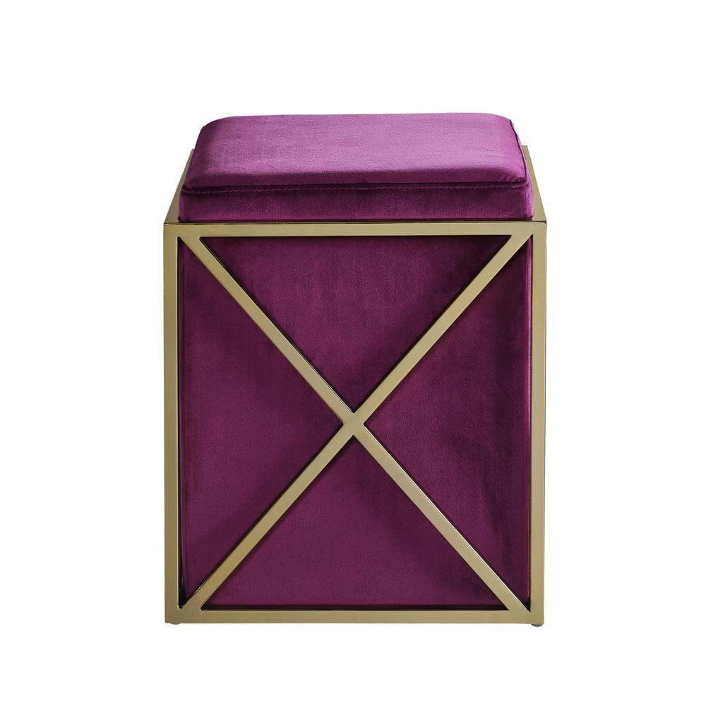 Chic Home Vana Ottoman Brass Finished Stainless Steel X Frame Square Velvet Bench, Contemporary Modern, Plum