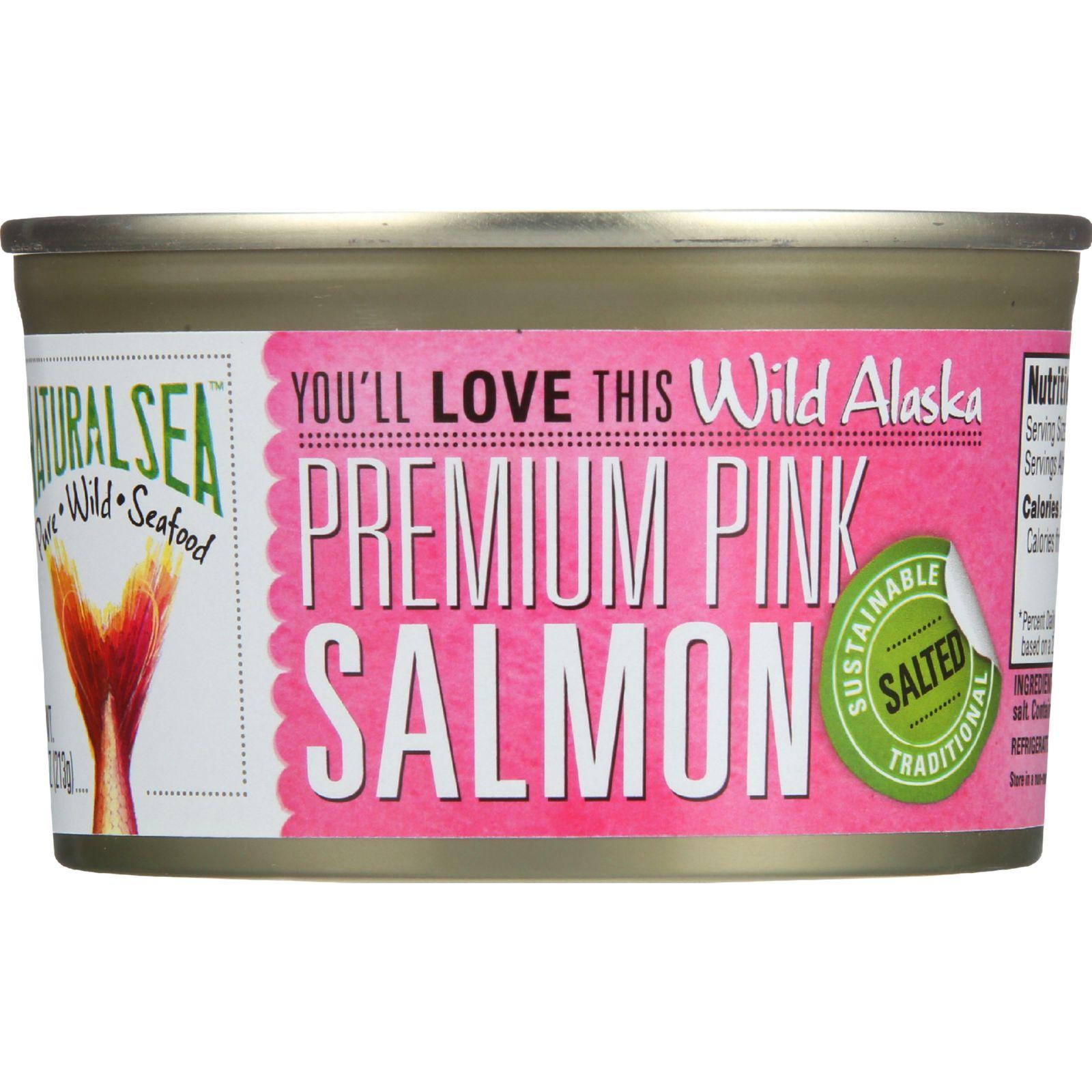 Natural Sea Salmon Premium Pink Wild Alaska Salted 7.5 oz case of 12 by Natural Sea