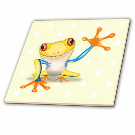 Tyler Frog (3dRose Image of Large Yellow Orange Frog On Yellow Dots - Ceramic Tile, 4-inch )