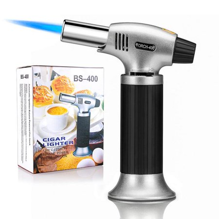 Culinary Torch, Blow Torch Refillable Kitchen Butane Torch Lighter with Safety Lock and Adjustable Flame, Perfect for Desserts, Creme Brulee, BBQ and Baking (Butane Gas Not Included)