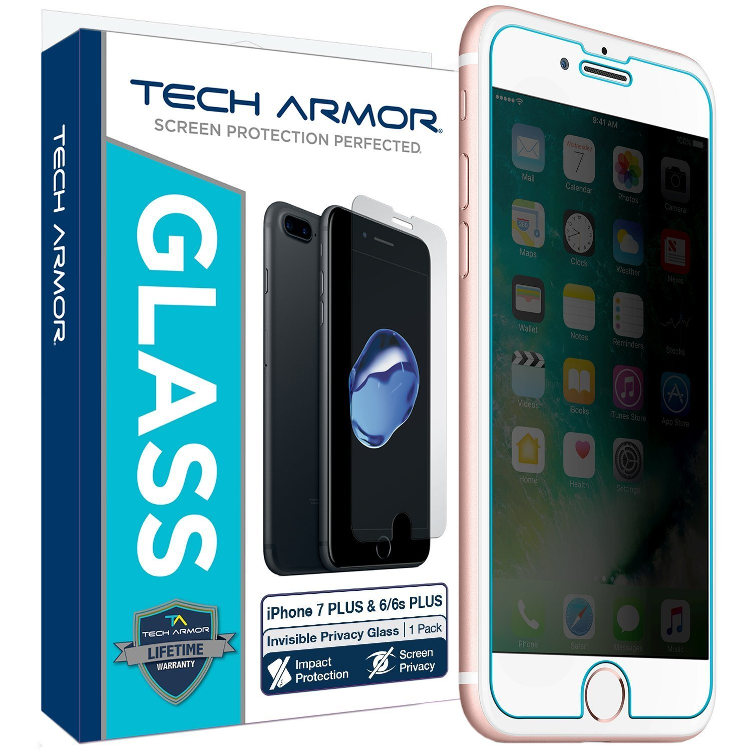 Tech Armor Apple iPhone 7 Plus/iPhone 8 Plus, Invisible Privacy Ballistic Glass Screen Protector [1-Pack]
