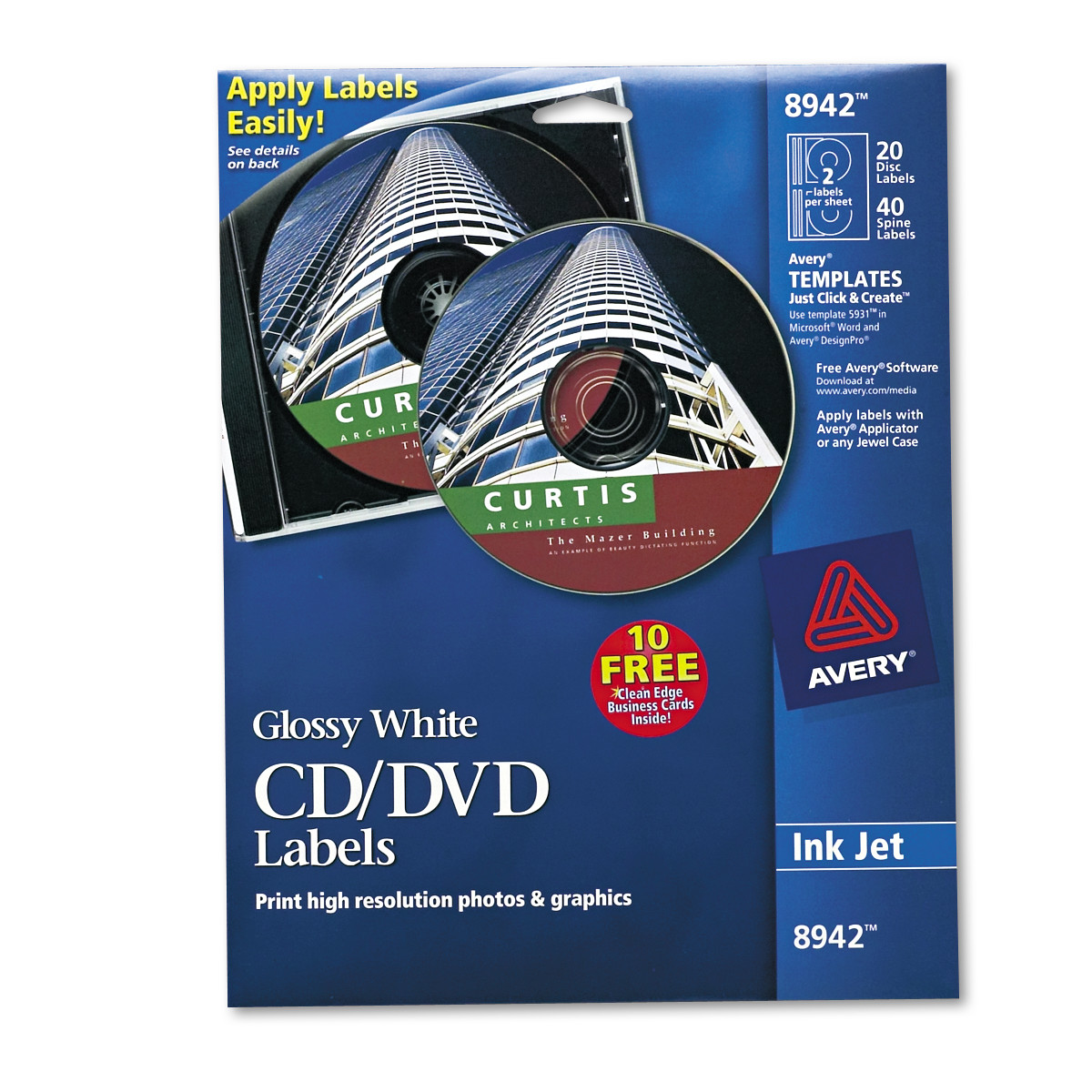Avery Inkjet Cd Labels Glossy White 20pack Walmart with regard to Amazing clipart for avery design pro for your inspiration