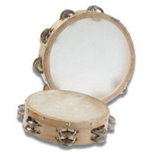 """Grover Trophy Tambourines w/ Non-Replaceable Skin Head 10"""" Double Row"""