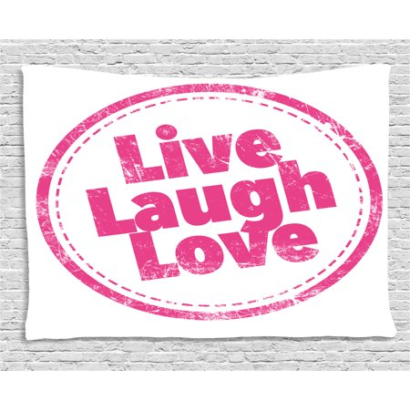 Live Laugh Love Decor Tapestry, Motivational Lifestyle Stamp Cute ...