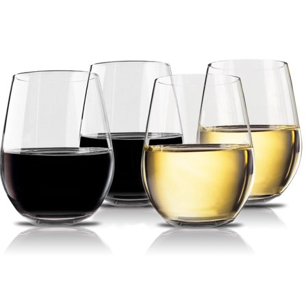 Halloween Plastic Wine Goblets (Vivocci Unbreakable Plastic Stemless Wine Glasses 20 oz Set of 4 Dishwasher Safe Shatterproof Glassware Ideal for RV, Travel, Pool & Outdoor Events, Looks like a Real)