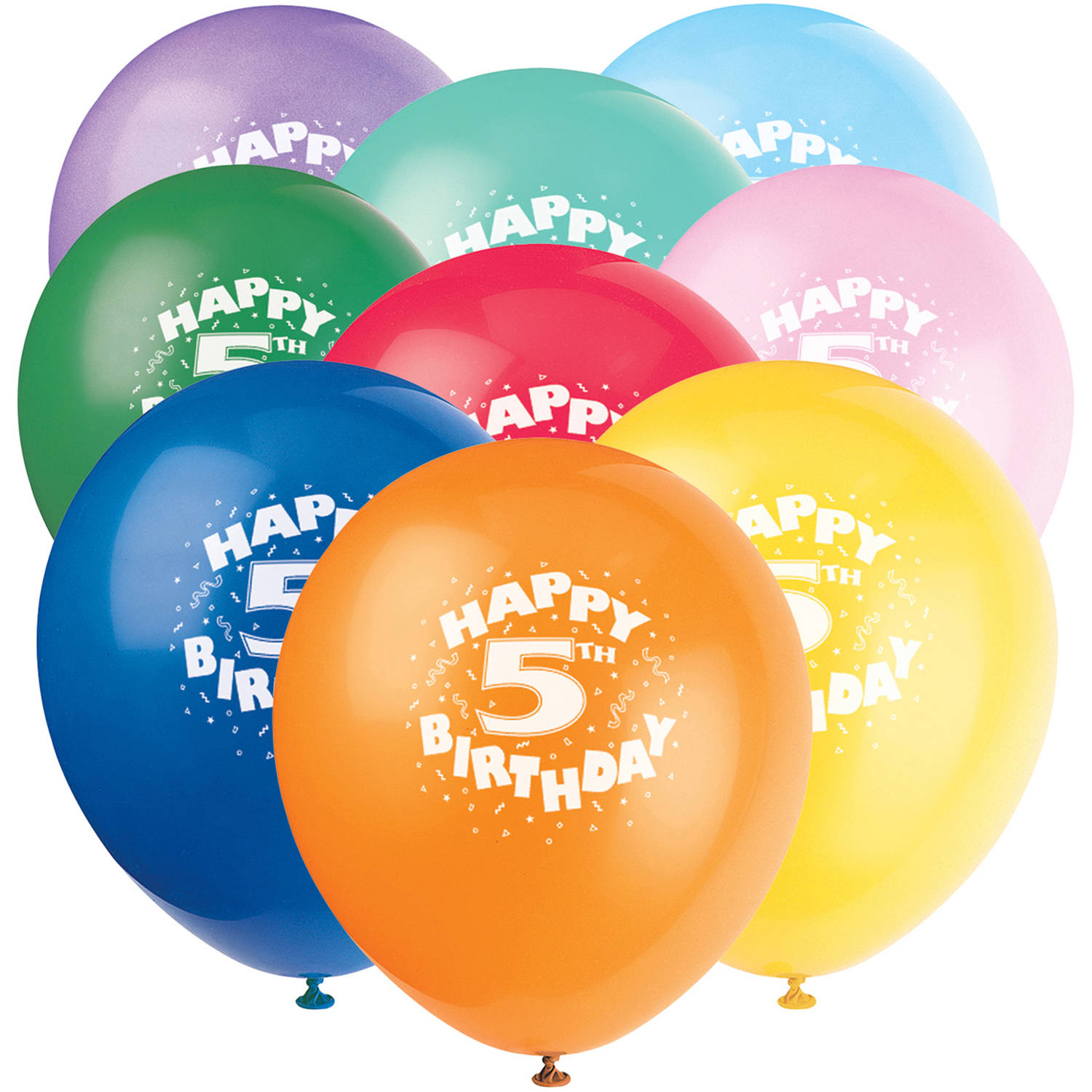 "12"" Happy 5th Birthday Latex Balloons, 6ct"