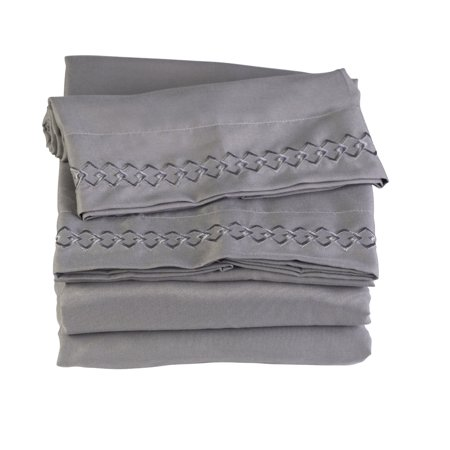 California King Charcoal Stone Gray Microfiber Bed Sheet Set By Florida Brands