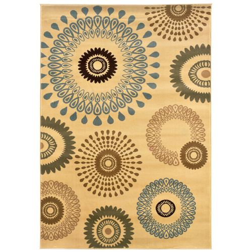 LR Resources Adana Kaleidoscopic Cream Area Rug