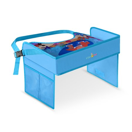 Kids Travel Tray, Toddler Car Seat Lap Tray with Organizer Pockets for Cars, Stroller, and Planes, Activity Snack and Drawing Play Tray Desk with Attractive Surface on The Go. Blue for Boys Car Seat Tray Table