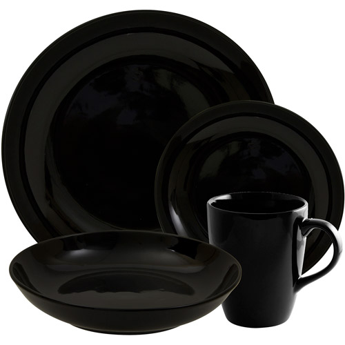 10 Strawberry Street Black Coupe 16-Piece Dinnerware Set, Black