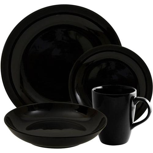 10 Strawberry Street Black Coupe 16-Piece Dinnerware Set, Black