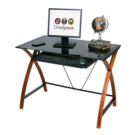 Glass and Wood Computer Desk with Pullout Keyboard Tray Black Glass Computer Desk