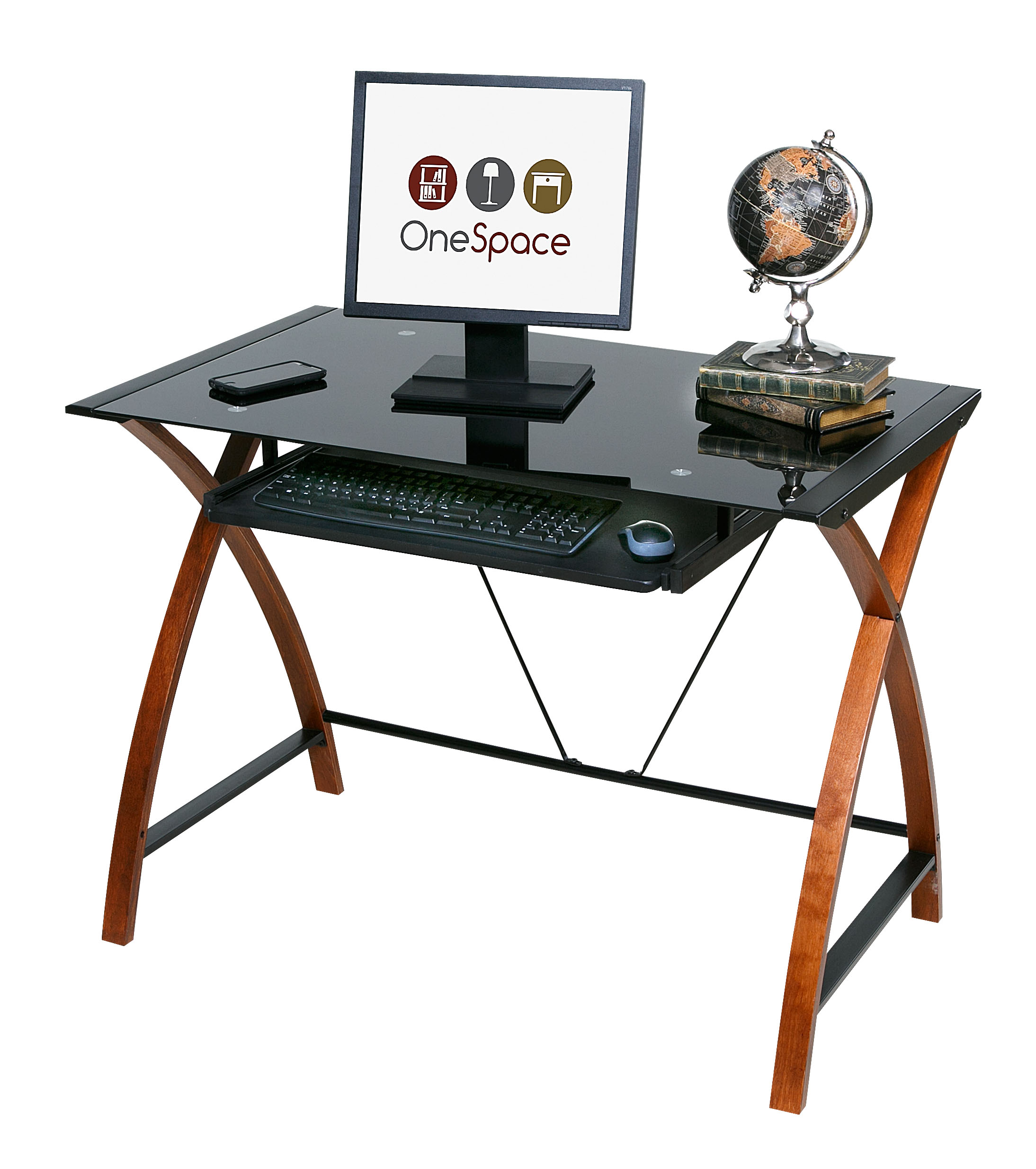 glass and wood computer desk with pullout keyboard tray