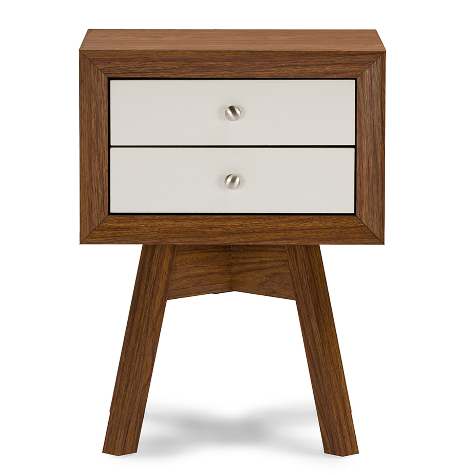 Baxton Studio Warwick Two-tone Walnut and White Modern Accent Table and Nightstand by Wholesale Interiors