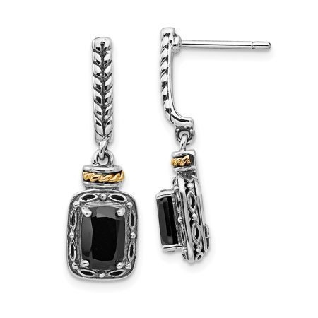 (925 Sterling Silver 14k Black Onyx Post Stud Drop Dangle Chandelier Earrings)
