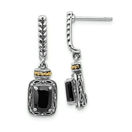 (925 Sterling Silver 14k Black Onyx Post Stud Drop Dangle Chandelier Earrings)