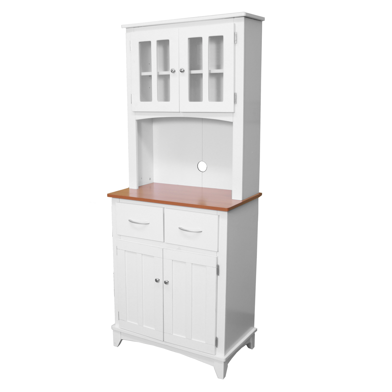 Home Source Industries Brook Tall Microwave Cabinet With 2 Drawer And An Upper Lower White