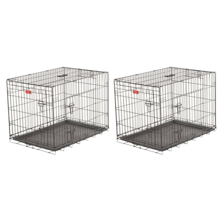 Lucky Dog 2 Door Dog Kennel w/ Leak Proof Removable Pan & Mat, Large (2 Pack)