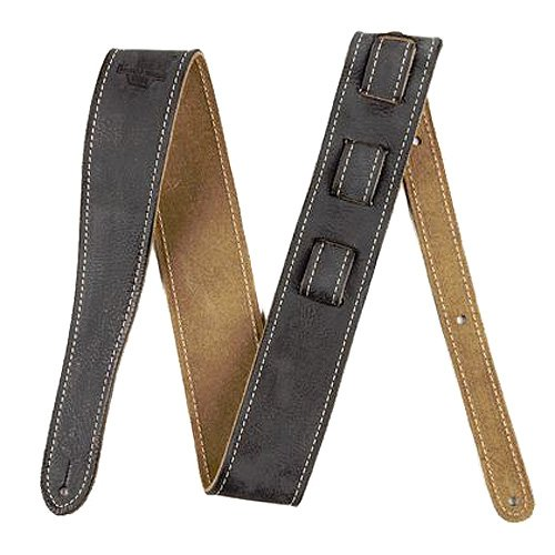 Road Worn Distressed Leather Guitar Strap Black, Fender Road Worn Straps high-quality, fully-adjustable leather straps made for comfort By Fender from USA