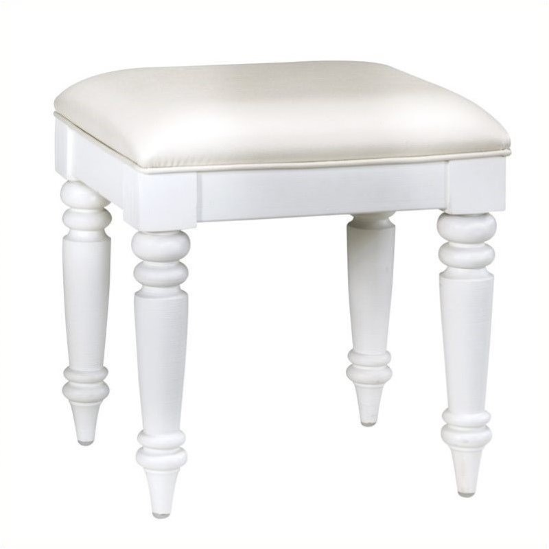 Bowery Hill Faux Leather Vanity Bench in White by Bowery Hill