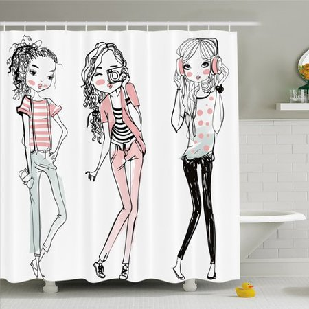 Ambesonne Fashion House Sketch of Cute Cartoon Elegant Girls with Makeup Clothes Image Shower Curtain Set ()
