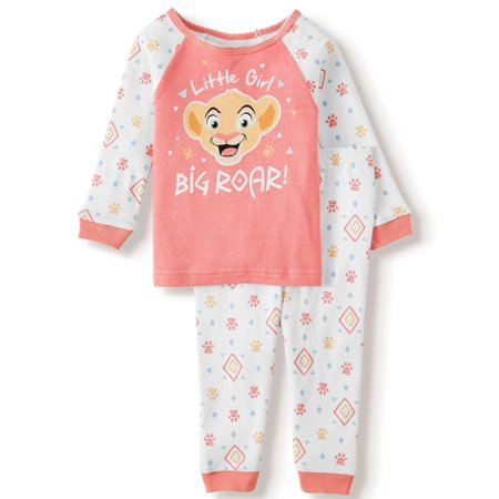 Lion King Baby Girl Long Sleeve Cotton Snug Fit Pajamas, 2-piece set Baby Girls Long Sleeved Pajamas