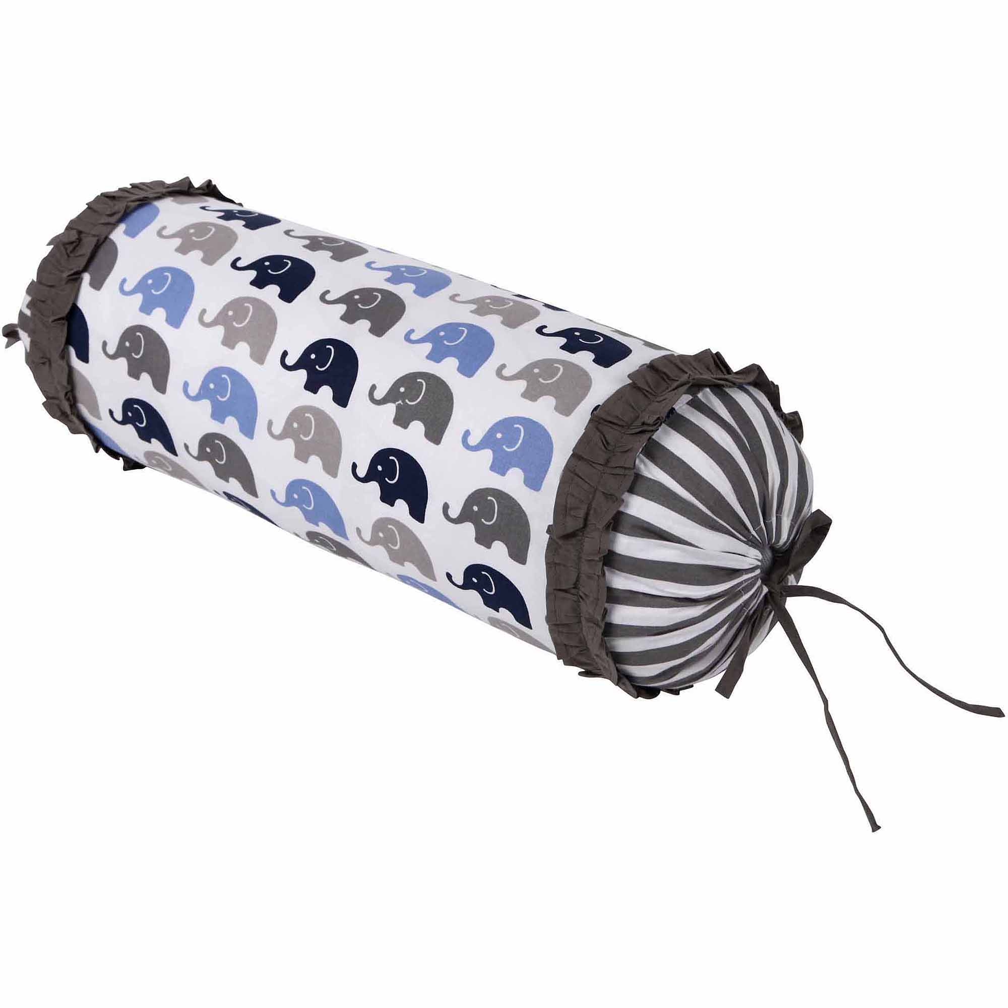 Bacati Elephants Neckroll with 100% Cotton cover and polyfilled insert Pillow, Blue/Gray