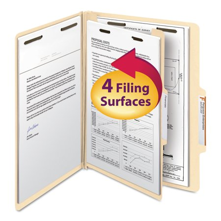 Smead Manila Classification Folders with 2/5 Right Tab, Letter, Four-Section, 10/Box -SMD13700