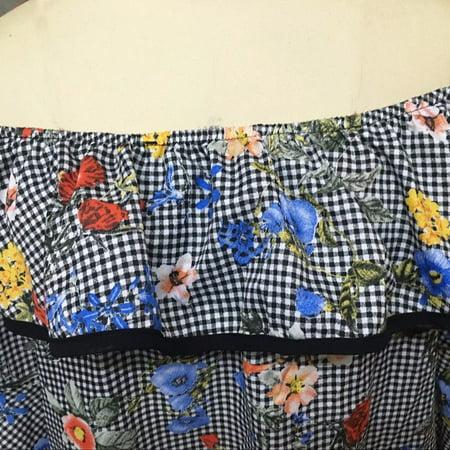 Mosunx Women Plaid Tartan Floral Flare Long Sleeve Off Shoulder Short Mini Dress XL (Tartan Plaid Dress)