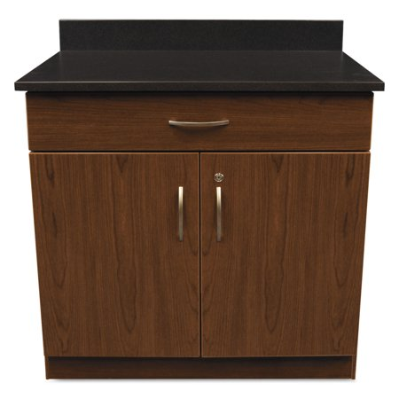 Image of Alera Plus Hosp. Base Cabinet, Two Doors/Drawer, 36w x 24 3/4d x 40h, Cherry/Granite Nebula