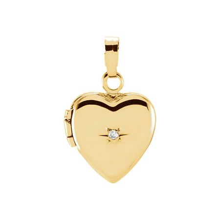 Jewels By Lux 14K Yellow Gold .005 CT Diamond Heart Shaped Locket Diamond Shaped Table Jewels