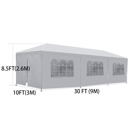 Party Tent Wedding 10'x30' Outdoor Gazebo Canopy Wedding Party Tent with 8 Removable Walls