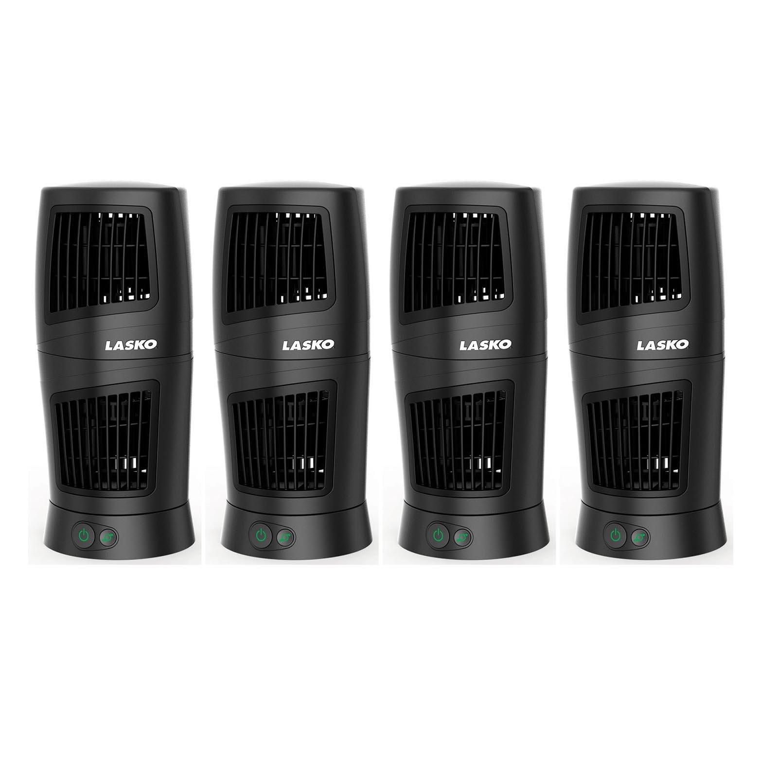 "Lasko Twist Top Slim Compact 12"" Portable Oscillating Desk Tower Fan (4 Pack)"