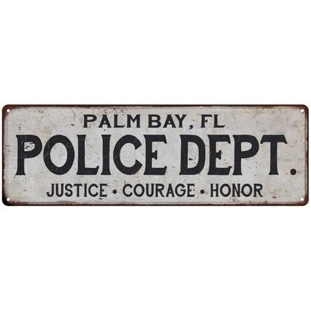 PALM BAY, FL POLICE DEPT. Home Decor Metal Sign Gift 6x18