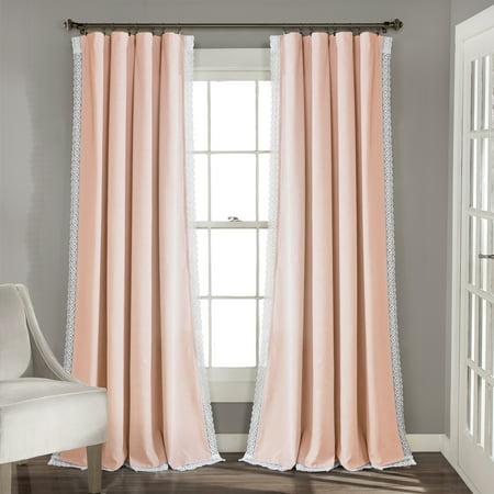"108""x54"" Rosalie Rod Pocket Light Filtering Window Curtain Panels Blush Pink - Lush Décor"