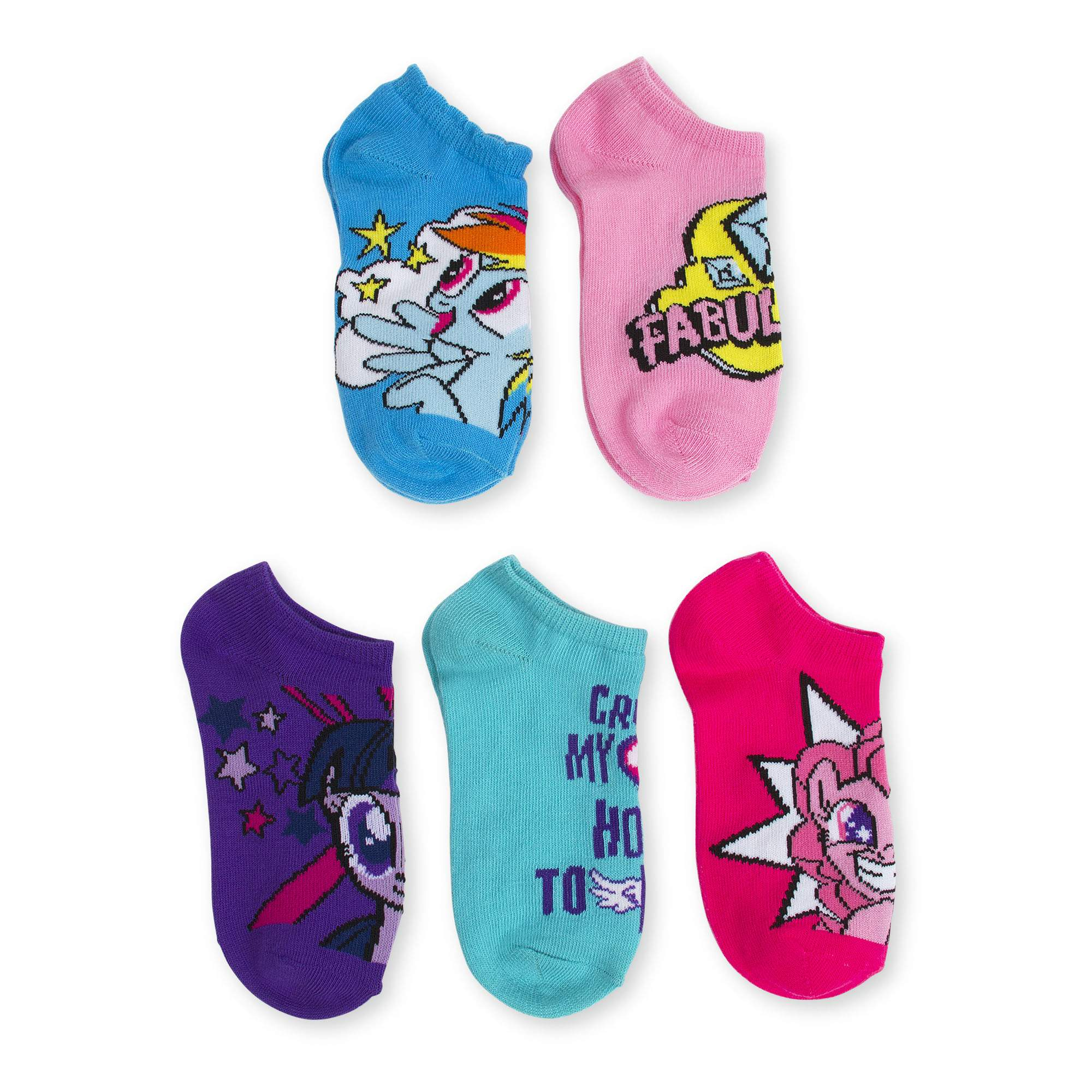 No Show Socks, 5 Pairs (Little Girls & Big Girls)