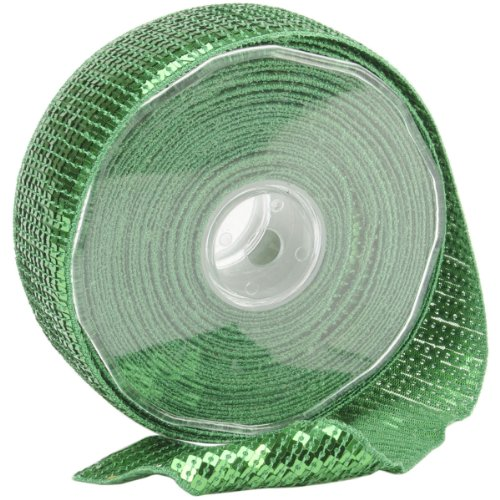 Square Sequin Trim 40mm X 15.95 Yards-Lime Green Multi-Colored