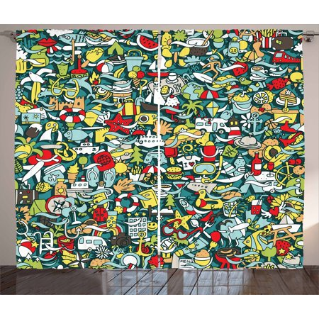Concept Compass Set (Doodle Curtains 2 Panels Set, Simple Mini Drawings of Holiday Related Concepts Caravan Compass Lifebuoy Breakfast, Window Drapes for Living Room Bedroom, 108W X 84L Inches, Multicolor, by)
