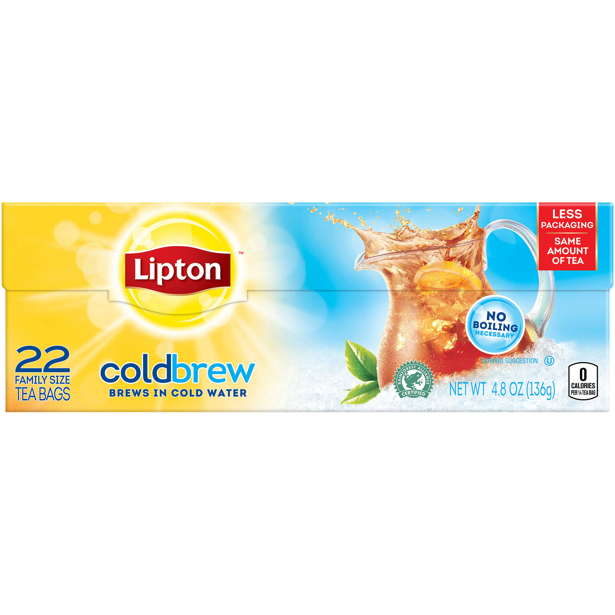 Lipton Cold Brew Family Size Black Iced Tea Bags, 22 ct