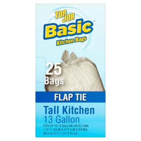(Pack of 2) Top Job Basic Flap Tie Tall Kitchen Trash Bags, 13 Gallon, 25 Count
