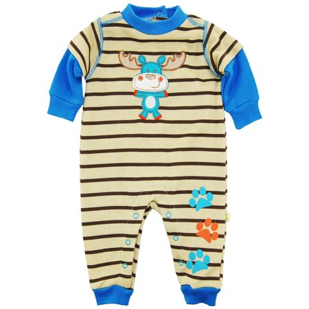 107f4ab4c7d0 Duck Goose Baby Boys  Deer with Stripes Fleece Coverall Jumpsuit